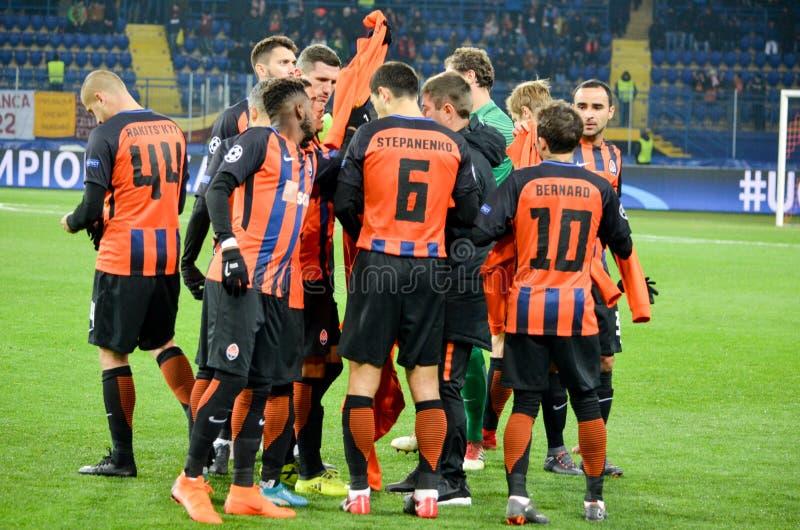 KHARKIV, UKRAINE - FEBRUARY 21, 2018: The team group photo Shakhtar players during UEFA Champions League match, Ukraine royalty free stock images