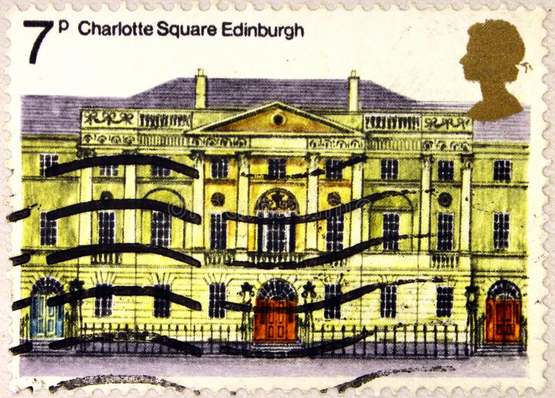 A stamp of UK shows Charlotte Square, Edinburgh royalty free stock photos