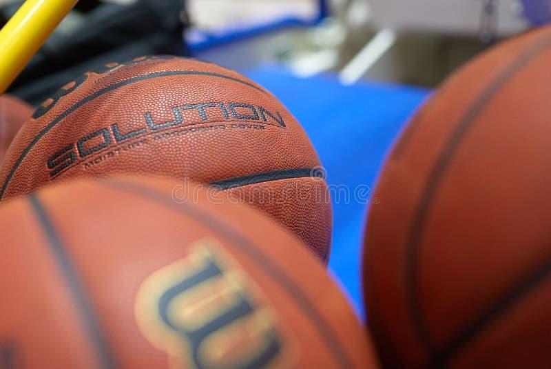 Basketball match of Ukraine super league Kharkiv falcons - Khimik. Kharkiv, Ukraine - March 1, 2020: Official basketball ball Willson of the match of Ukraine stock images