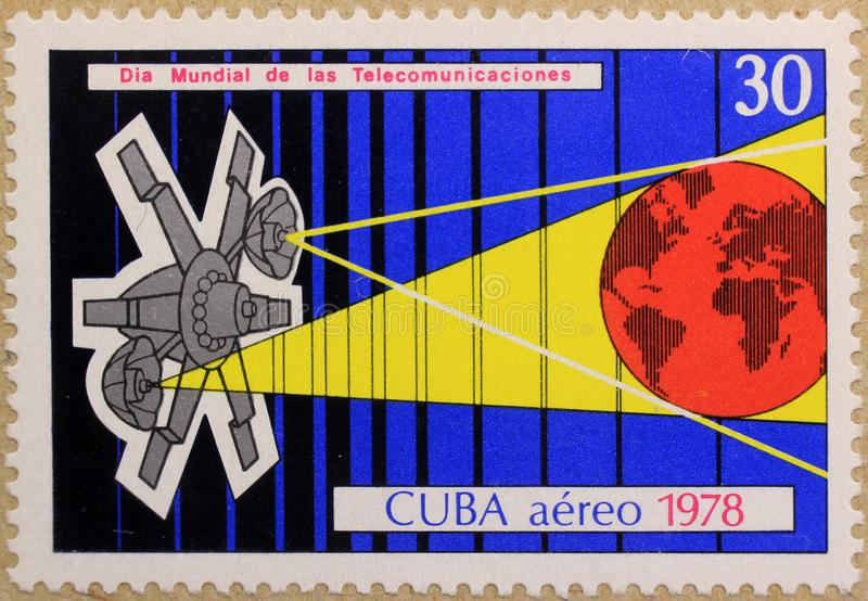 Postal stamp of Cuba, dedicated to The International Day of Telecommunications. royalty free stock image