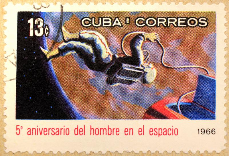 Postal stamp of Cuba, dedicated to the 5th anniversary of first manned space flight royalty free stock images
