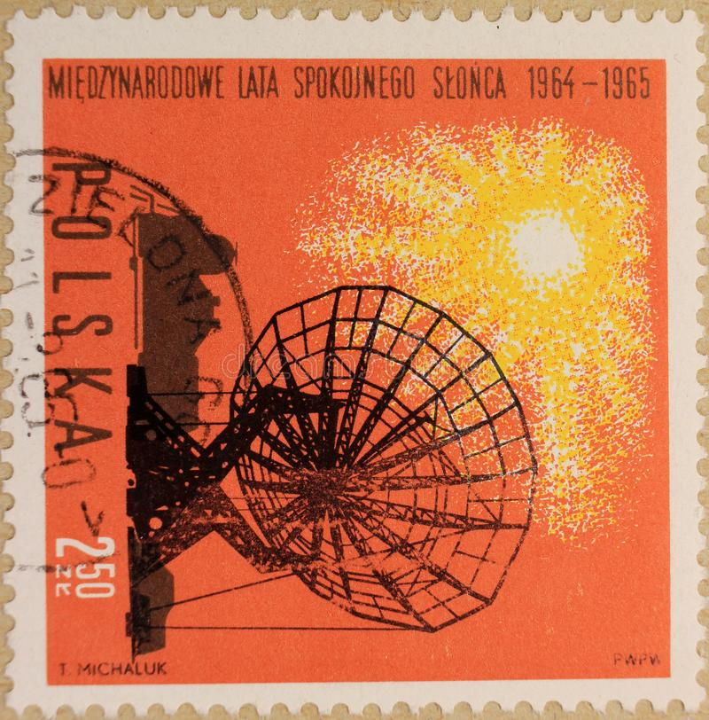 Postal stamp of Poland, dedicated to The Year of the Quiet Sun royalty free stock photos