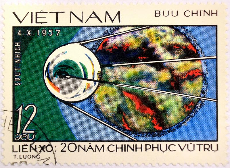 Postal stamp of Vietnam, dedicated to the 20th anniversary of space exploration royalty free stock photo