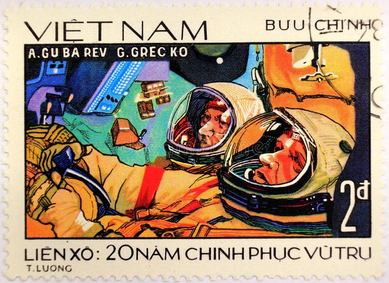Postal stamp of Vietnam, dedicated to the 20th anniversary of space exploration royalty free stock photos