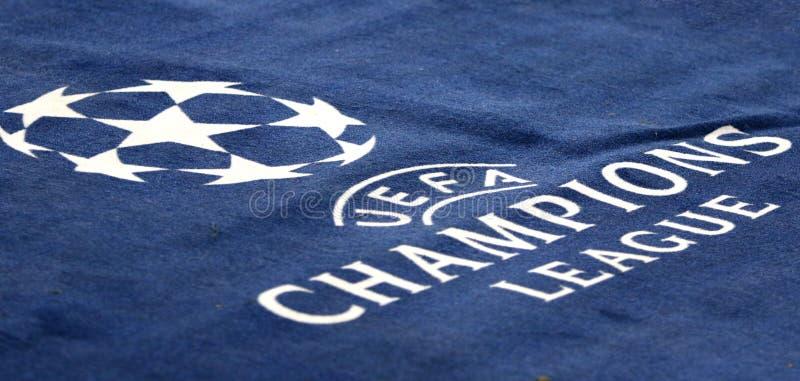 UEFA Champions League: Shakhtar Donetsk v Feyenoord. KHARKIV, UKRAINE - NOVEMBER 1, 2017: Official UEFA Champions League logo on the carpet during UEFA Champions stock photos