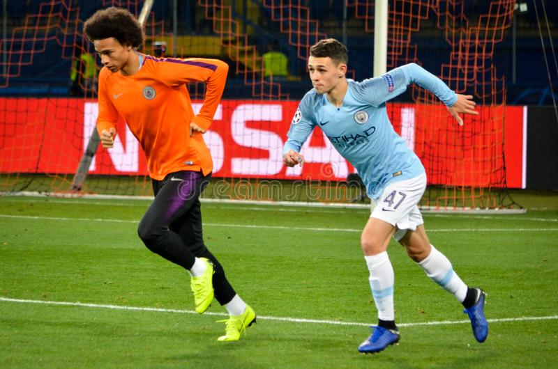 KHARKIV, UKRAINE - October 23, 2018: Phil Foden and Leroy Sane d. Uring the UEFA Champions League match between Shakhtar Donetsk vs Manchester City (England) royalty free stock images