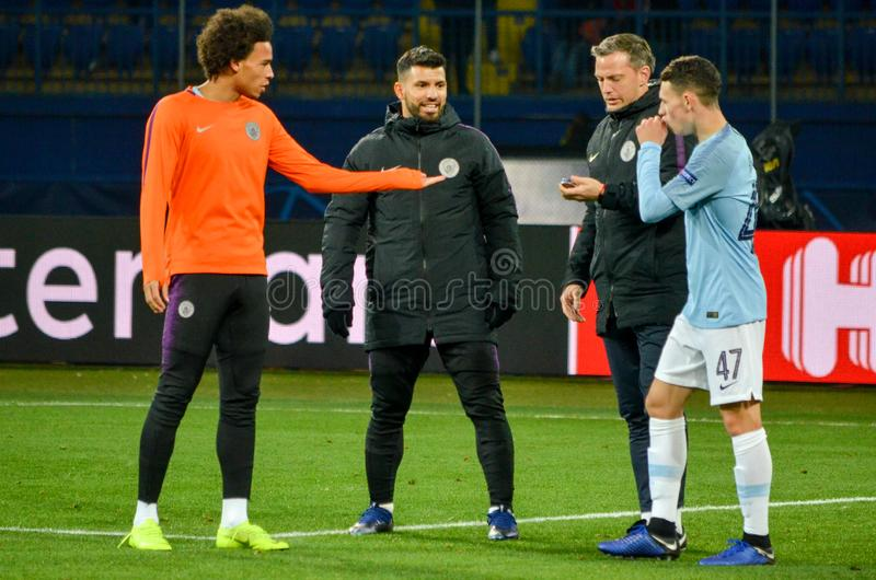 KHARKIV, UKRAINE - October 23, 2018: Phil Foden and Leroy Sane d. Uring the UEFA Champions League match between Shakhtar Donetsk vs Manchester City (England) royalty free stock photos