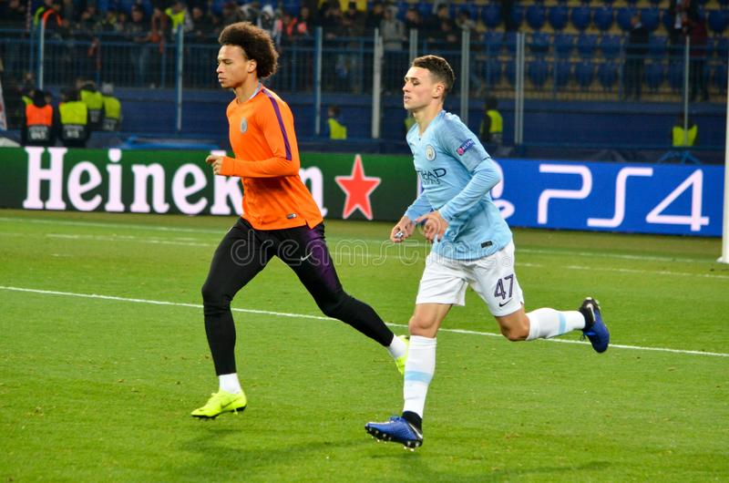 KHARKIV, UKRAINE - October 23, 2018: Phil Foden and Leroy Sane d. Uring the UEFA Champions League match between Shakhtar Donetsk vs Manchester City (England) stock photography