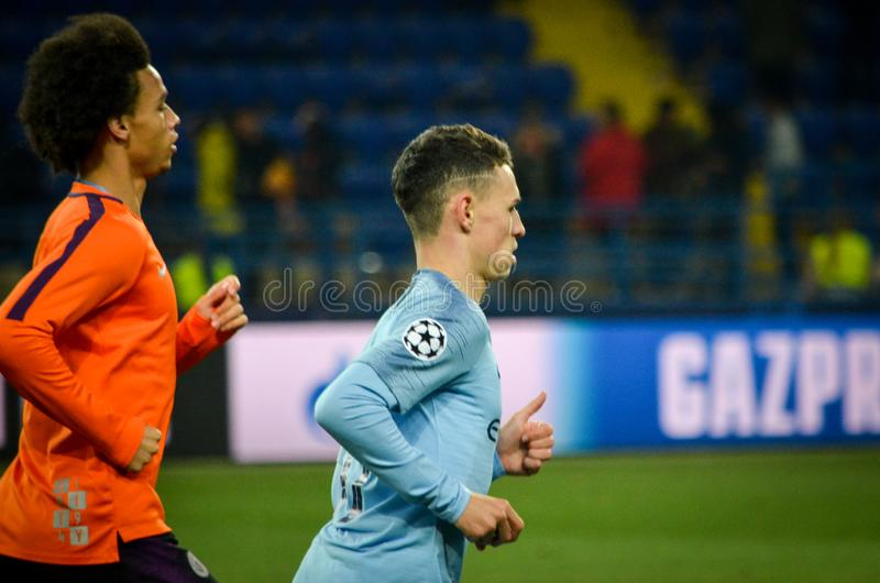 KHARKIV, UKRAINE - October 23, 2018: Phil Foden and Leroy Sane d. Uring the UEFA Champions League match between Shakhtar Donetsk vs Manchester City (England) royalty free stock image