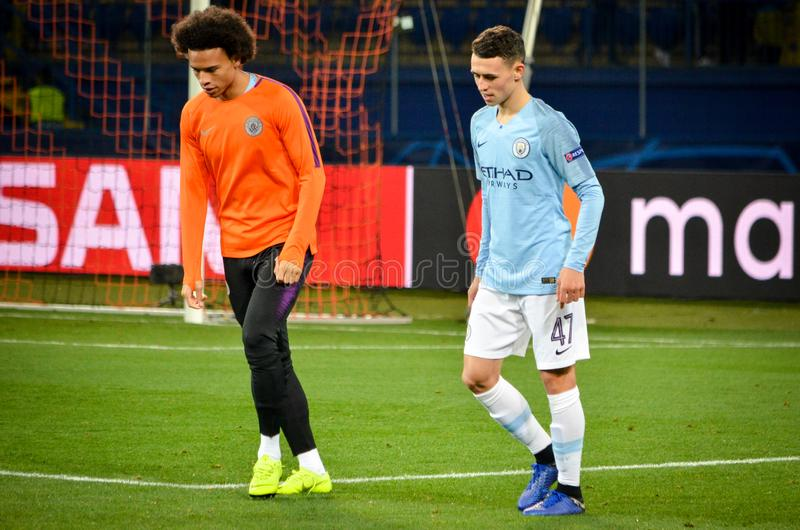 KHARKIV, UKRAINE - October 23, 2018: Phil Foden and Leroy Sane during the UEFA Champions League match between Shakhtar Donetsk vs. Manchester City (England) stock photography