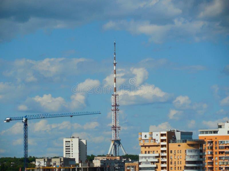 kharkov Opinião da arquitetura da cidade da janela fotografia de stock