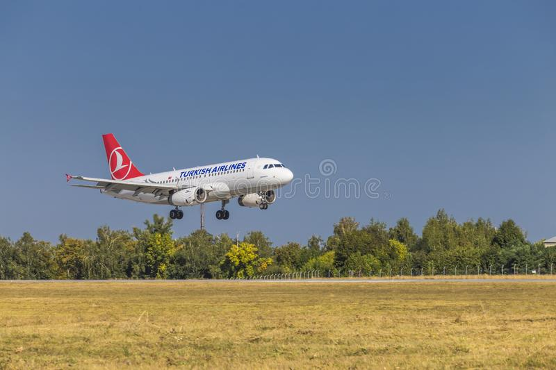 Kharkov/Ukraine -  August 19, 2018: Airbus A319 of Turkish Airlines landing  in Kharkov Airport royalty free stock images
