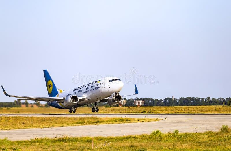Kharkov/Ukraine - August 19, 2018: Boeing 737-36Q UR-GBD of Ukraine International Airlines taking off in Kharkov Airport stock image
