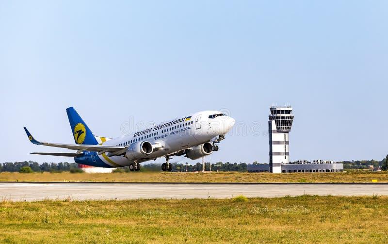 Kharkov/Ukraine - August 19, 2018: Boeing 737-36Q UR-GBD of Ukraine International Airlines taking off in Kharkov Airport stock images