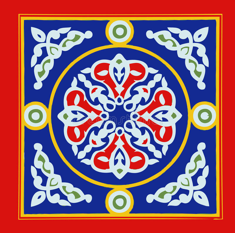 Egyptian Tent Fabric Pattern Blue and Red Khayamia arabic folkloric design royalty free illustration