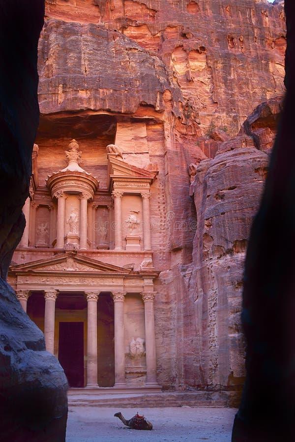 Khaznet in Petra, Jordanië royalty-vrije stock afbeeldingen