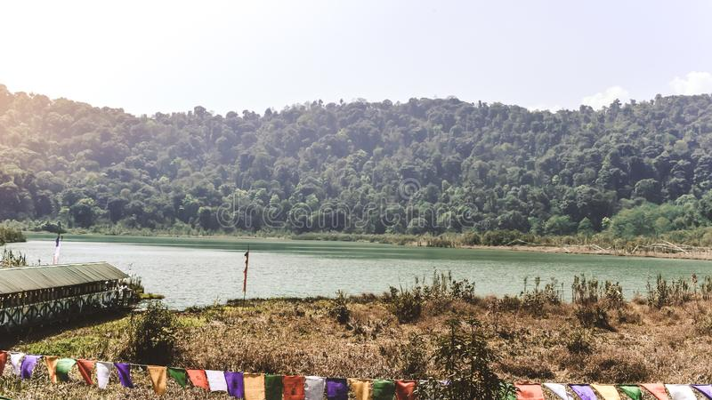 Khecheopalri Lake heaven of Padmasambhava in the midst of hill and forest, Gangtok, Northeastern Indian state of Sikkim. India. royalty free stock images