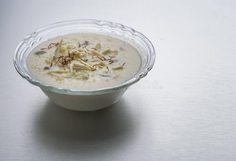 Kheer, ryżowy pudding lub deser fotografia stock