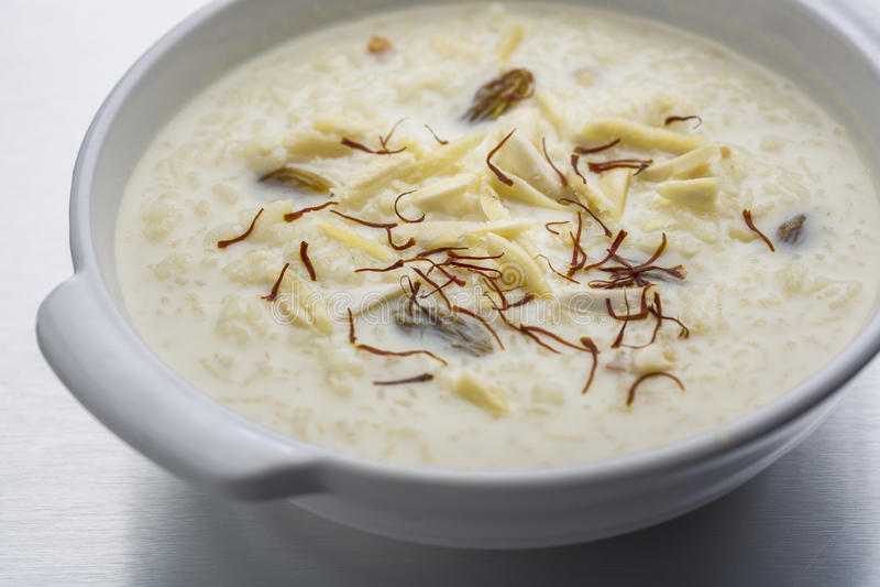 Kheer, ryżowy pudding lub deser obrazy royalty free