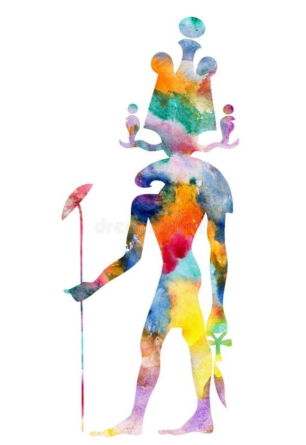Khensu - dios de Egipto antiguo stock de ilustración