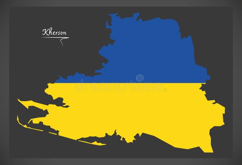 Kherson map of Ukraine with Ukrainian national flag illustration. Kherson map of Ukraine with Ukrainian national flag royalty free illustration