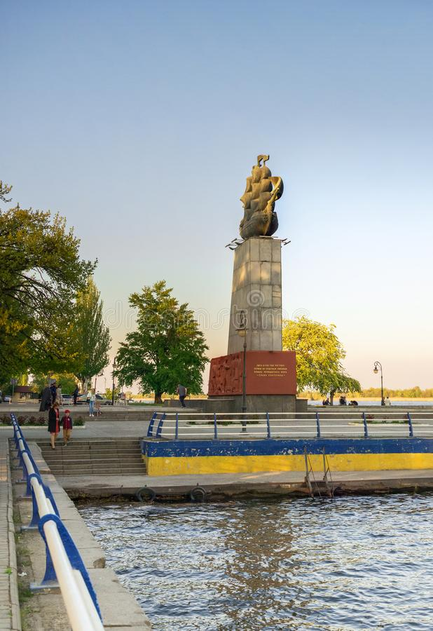 Monument to the first shipbuilders in Kherson, Ukraine. Kherson, Ukraine - 04.27.2019. Monument to the first shipbuilders in Kherson in the spring evening stock photography
