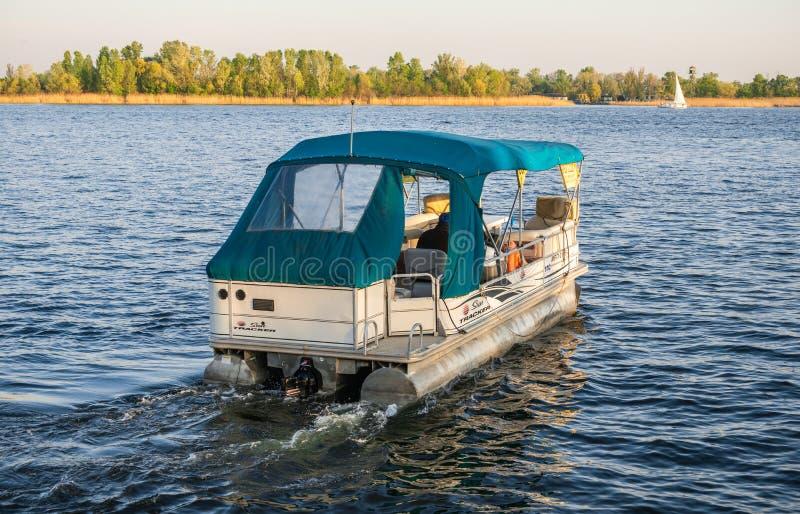 Pleasure boat in Kherson, Ukraine stock photo
