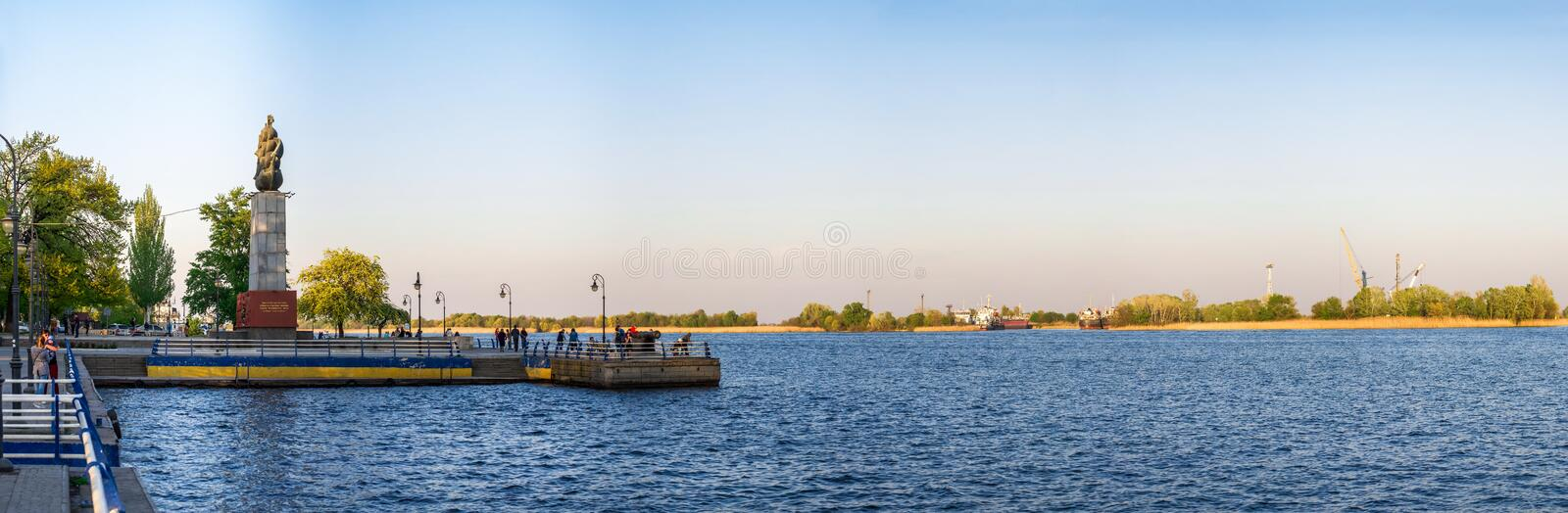 View of the Dnieper River in Kherson, Ukraine stock photography