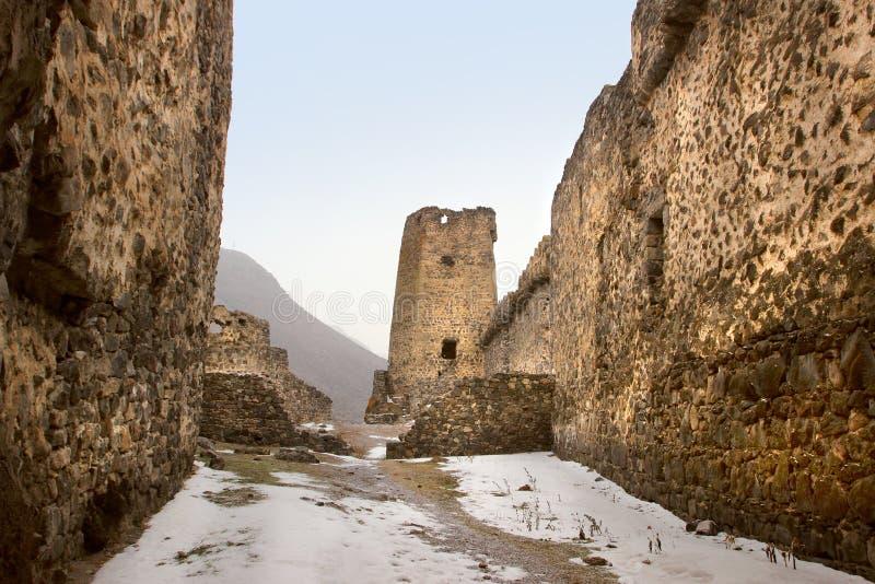 Khertvisi堡垒在冬天,乔治亚 免版税图库摄影