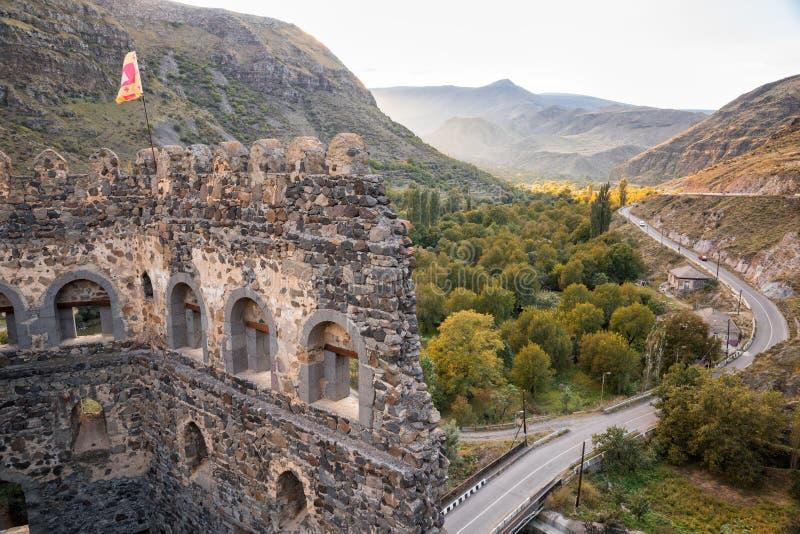 Khertvisi堡垒废墟在乔治亚 免版税图库摄影