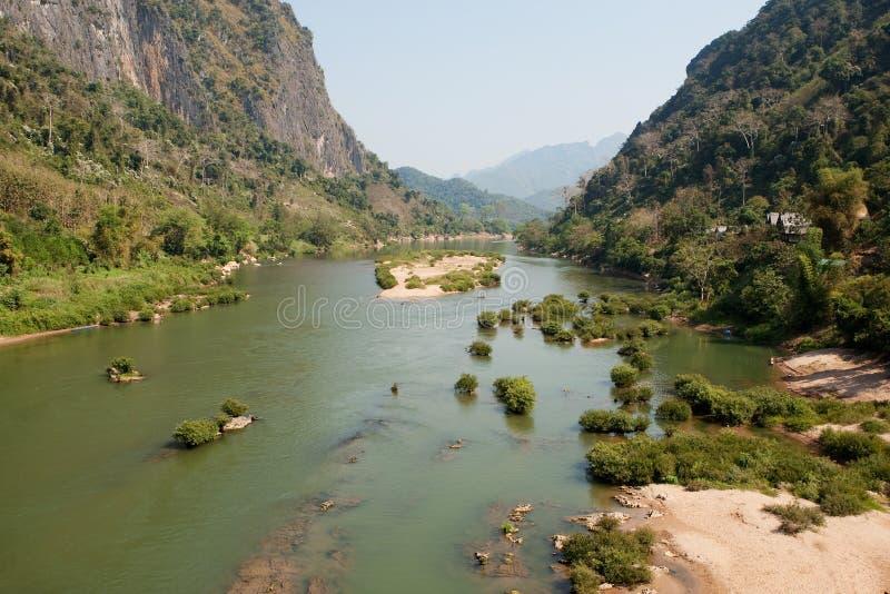 khiaolaos nam nära nongou-floden royaltyfria bilder