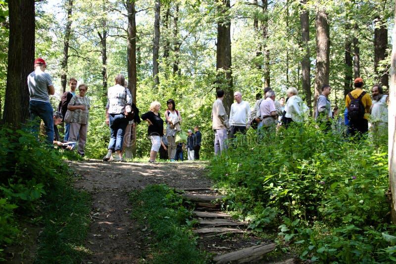 Khimki森林的防御者的公告,召集在汇聚保卫橡木 图库摄影