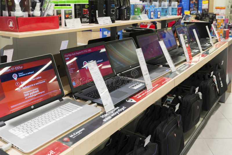Khimki, Russia - December 22 2015. Laptops In Mvideo large chain stores selling electronics and household appliances stock images