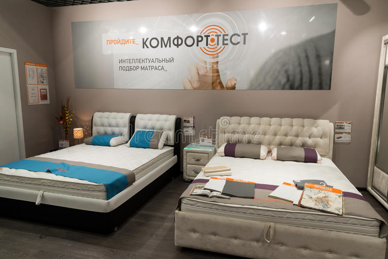 Khimki, Russia - February 13. 2016. Exhibit samples beds in Grand Furniture shopping, largest specialty shop. stock photos