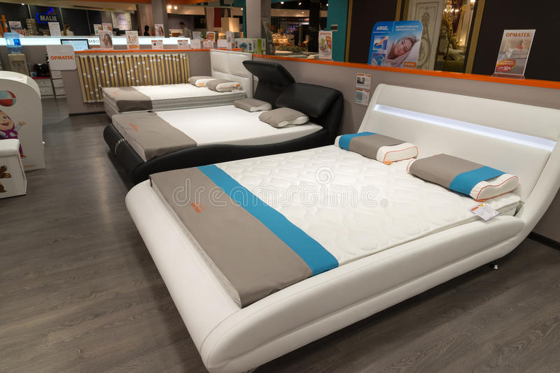 Khimki, Russia - February 13. 2016. Exhibit samples beds in Grand Furniture shopping, largest specialty shop. stock image