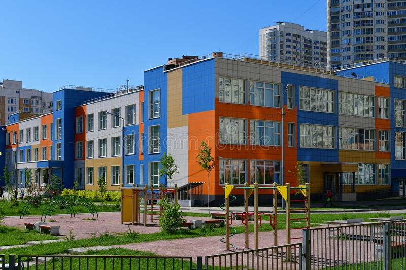 Khimki,Russia - May 10. 2018. State comprehensive school of primary and secondary education with game complex. Khimki,Russia - May 10. 2018. Beautiful State stock images