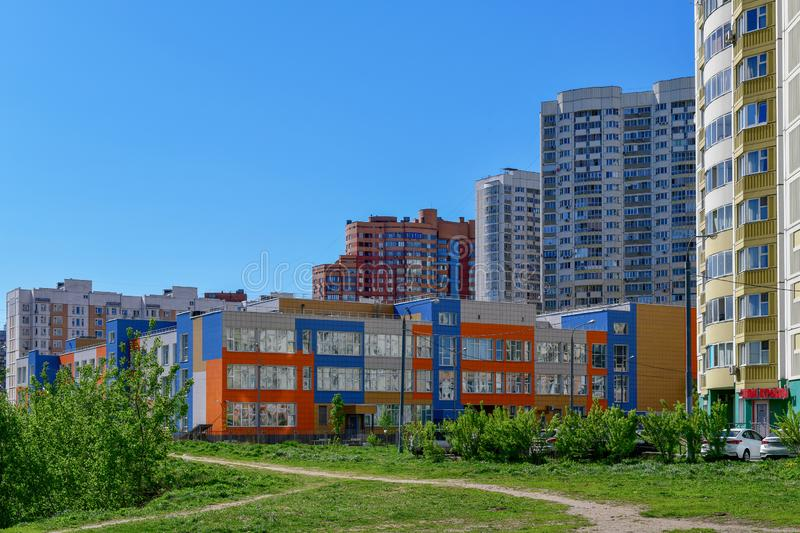 Khimki,Russia - May 10. 2018. State comprehensive school of primary and secondary education. Khimki,Russia - May 10. 2018. Beautiful State comprehensive school stock photography