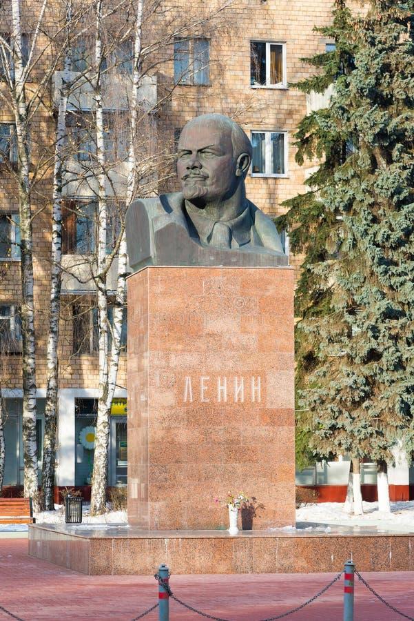 Khimki, Russia - November 21.2016. monument to Vladimir Lenin, organizer of 1917 revolution at Central Square. Khimki, Russia - November 21.2016. The monument to stock image