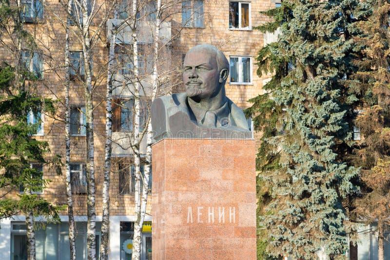 Khimki, Russia - November 21.2016. monument to Vladimir Lenin, organizer of 1917 revolution at Central Square. Khimki, Russia - November 21.2016. The monument to stock images