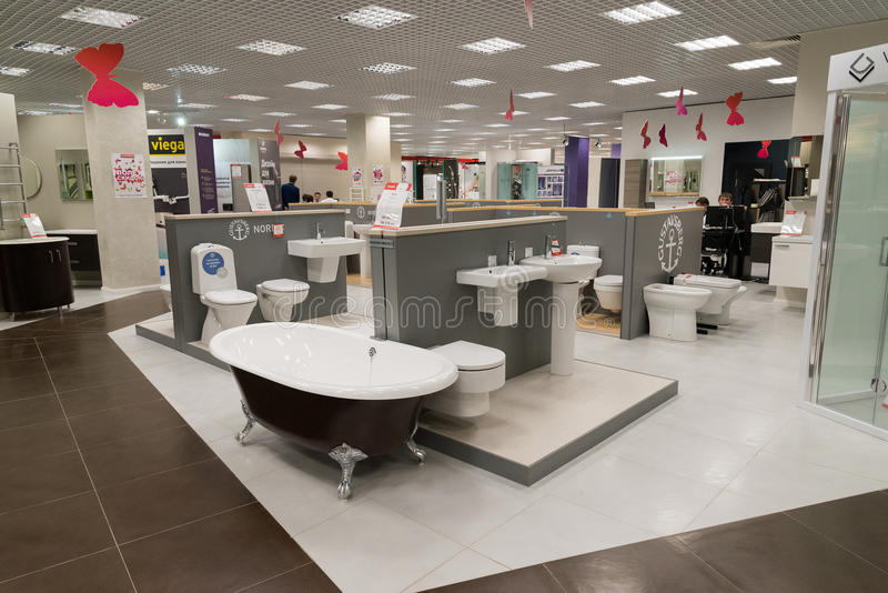 Khimki, Russia - September 03.2016. selling baths and other sanitary ware in largest furniture store Grand. Khimki, Russia - September 03.2016. selling baths and royalty free stock images