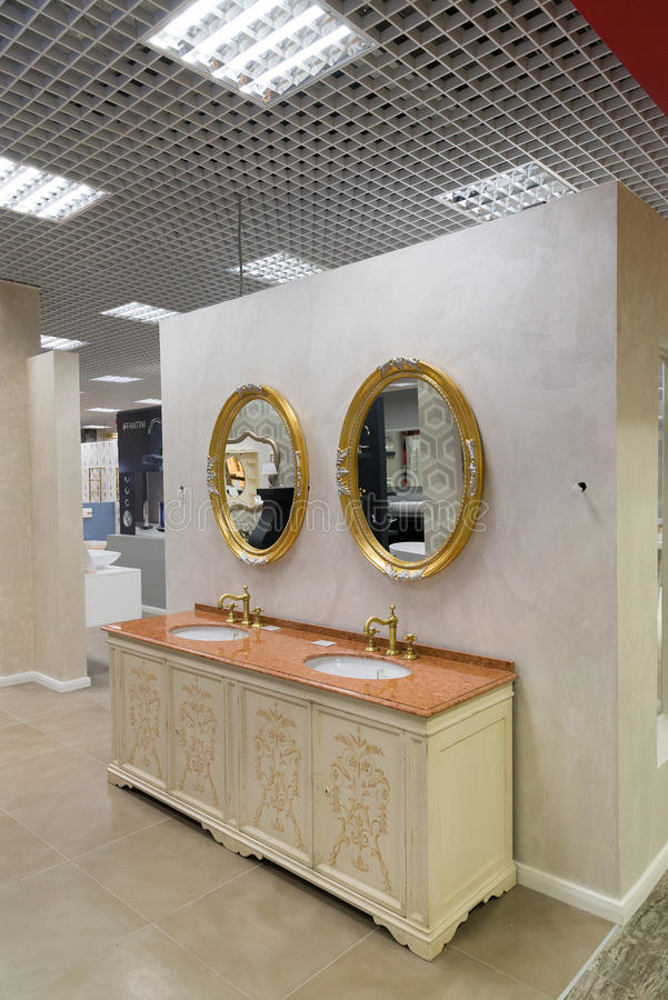 Khimki, Russia - September 03.2016. selling rich water faucet and sanitary ware in largest furniture store Grand. Khimki, Russia - September 03.2016. selling royalty free stock photography