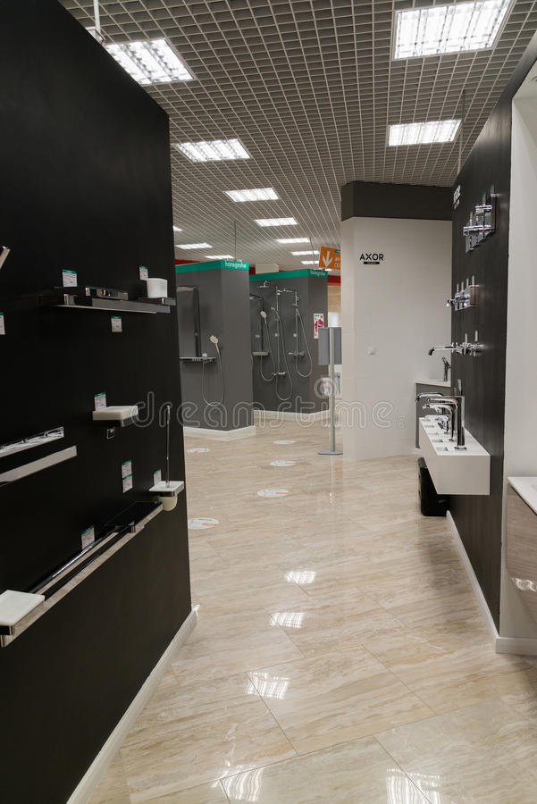 Khimki, Russia - September 03.2016. selling water faucet and sanitary ware in largest furniture store Grand. Khimki, Russia - September 03.2016. selling baths stock image