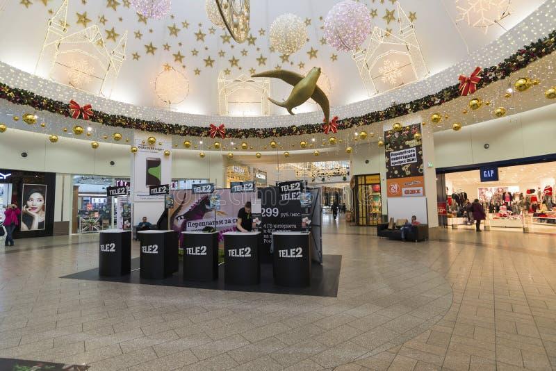 Khimki, Russie - 22 décembre 2015 Opérateur mobile Tele2 dans de grands centres commerciaux méga image libre de droits