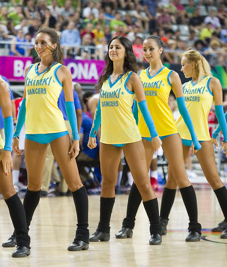 Khimki tancerzy cheerleaders obraz stock