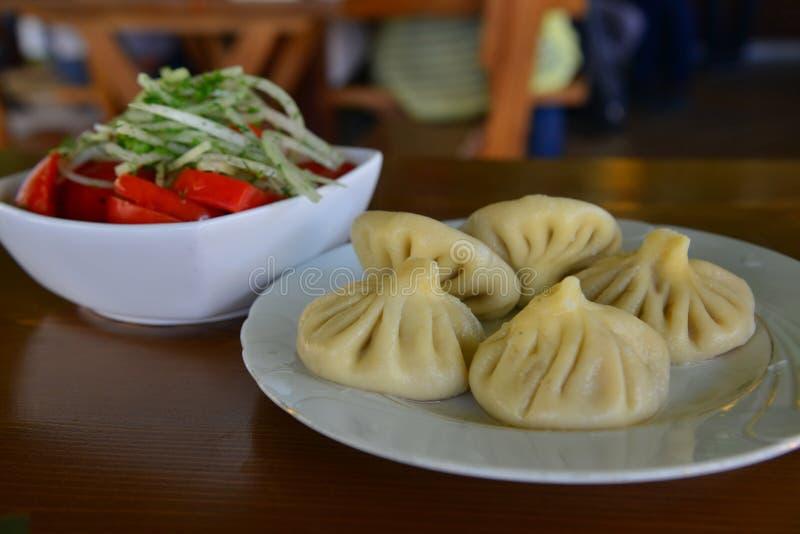 Khinkali, a Georgian dumpling stock photo