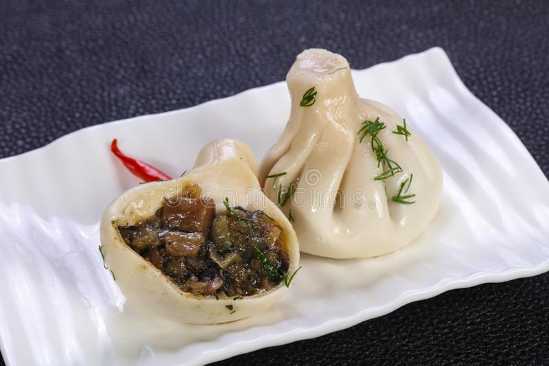 Khinkali tradicional caucasiano imagem de stock