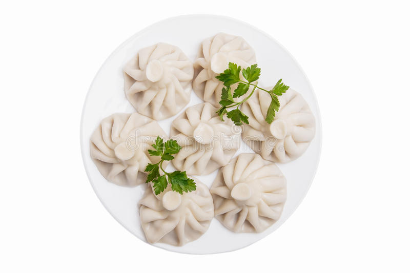 Khinkali traditional Georgian dish white background top view isolated. A royalty free stock images