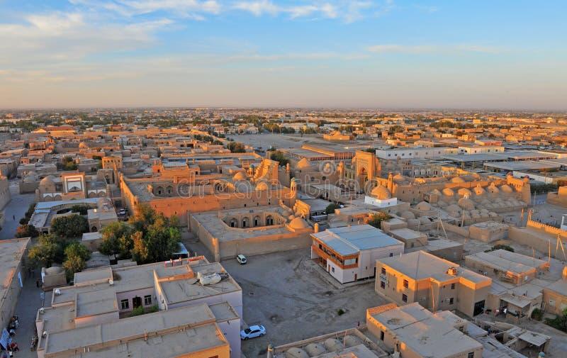 Khiva: πανόραμα της παλαιάς πόλης στοκ φωτογραφία
