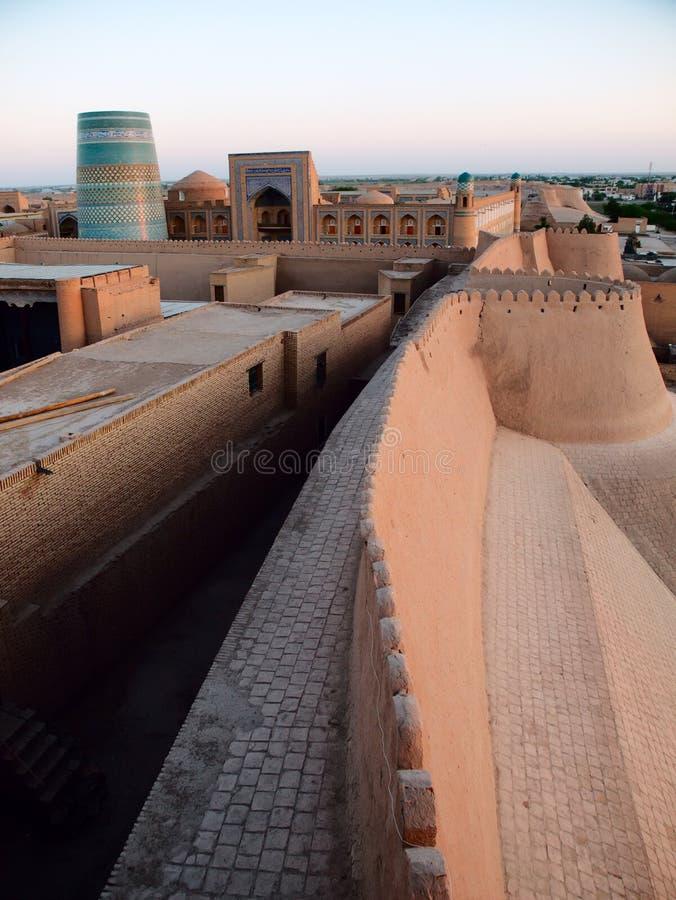 Khiva στο ηλιοβασίλεμα στοκ φωτογραφία