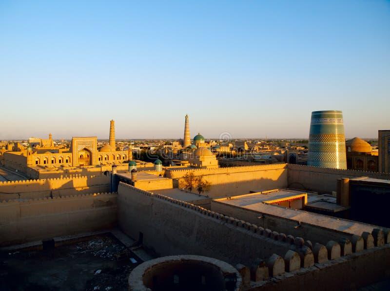 Khiva au coucher du soleil photo stock